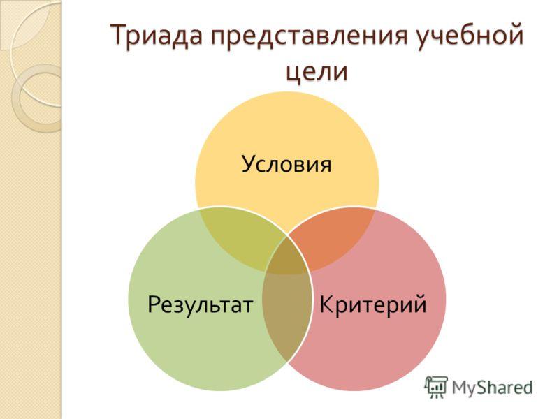 Триада представления учебной цели Условия КритерийРезультат