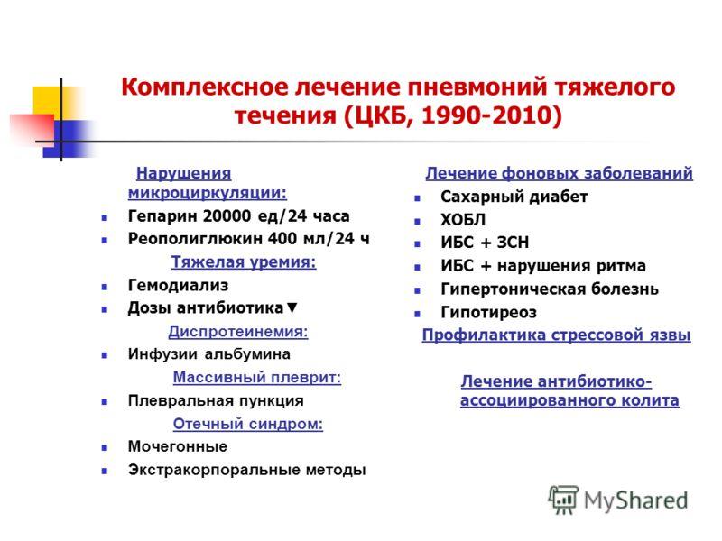 Комплексное лечение пневмоний тяжелого течения (ЦКБ, 1990-2010) Нарушения микроциркуляции: Гепарин 20000 ед/24 часа Реополиглюкин 400 мл/24 ч Тяжелая уремия: Гемодиализ Дозы антибиотика Диспротеинемия: Инфузии альбумина Массивный плеврит: Плевральная