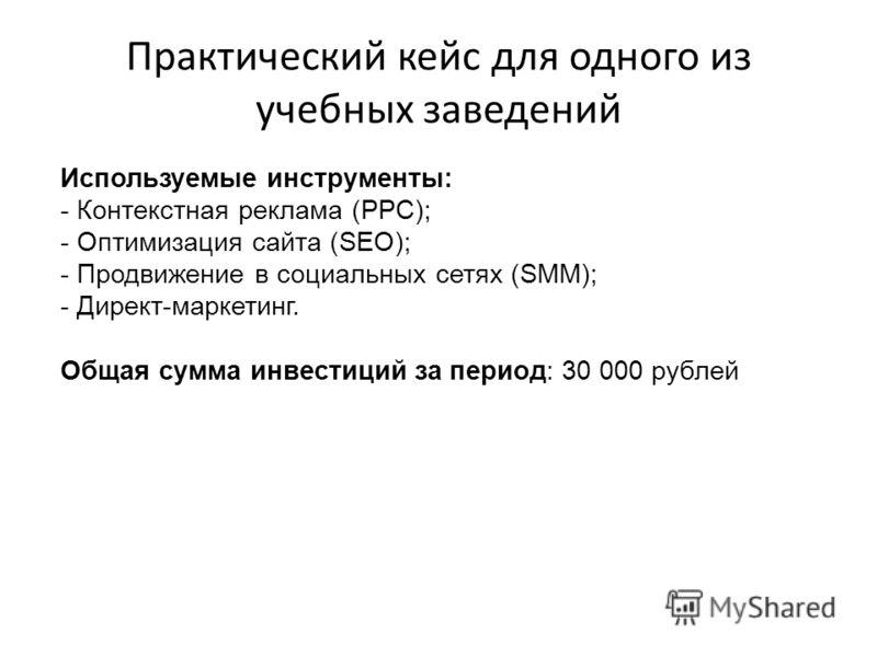 Практический кейс для одного из учебных заведений Используемые инструменты: - Контекстная реклама (PPC); - Оптимизация сайта (SEO); - Продвижение в социальных сетях (SMM); - Директ-маркетинг. Общая сумма инвестиций за период: 30 000 рублей