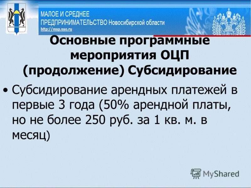 Основные программные мероприятия ОЦП (продолжение) Субсидирование Субсидирование арендных платежей в первые 3 года (50% арендной платы, но не более 250 руб. за 1 кв. м. в месяц )