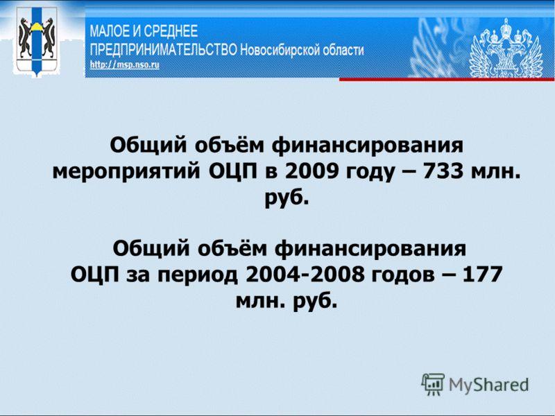 Общий объём финансирования мероприятий ОЦП в 2009 году – 733 млн. руб. Общий объём финансирования ОЦП за период 2004-2008 годов – 177 млн. руб.