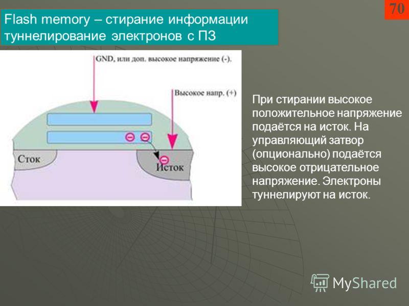70 Flash memory – стирание информации туннелирование электронов с ПЗ При стирании высокое положительное напряжение подаётся на исток. На управляющий затвор (опционально) подаётся высокое отрицательное напряжение. Электроны туннелируют на исток.
