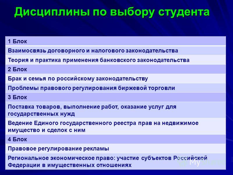 Дисциплины по выбору студента 1 Блок Взаимосвязь договорного и налогового законодательства Теория и практика применения банковского законодательства 2 Блок Брак и семья по российскому законодательству Проблемы правового регулирования биржевой торговл