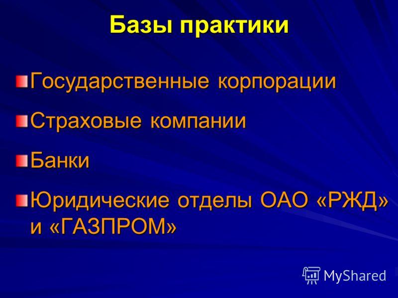 Государственные корпорации Страховые компании Банки Юридические отделы ОАО «РЖД» и «ГАЗПРОМ» Базы практики
