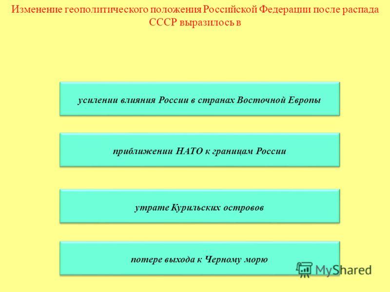 Изменение геополитического положения Российской Федерации после распада СССР выразилось в усилении влияния России в странах Восточной Европы приближении НАТО к границам России утрате Курильских островов потере выхода к Черному морю