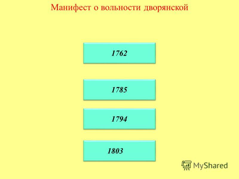 Манифест о вольности дворянской 1762 1785 1785 1794 1803