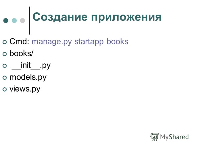 Создание приложения Cmd: manage.py startapp books books/ __init__.py models.py views.py