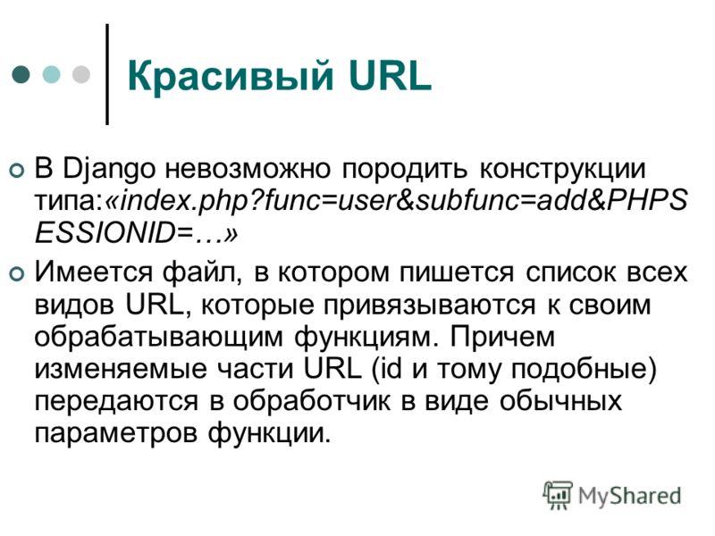 Красивый URL В Django невозможно породить конструкции типа:«index.php?func=user&subfunc=add&PHPS ESSIONID=…» Имеется файл, в котором пишется список всех видов URL, которые привязываются к своим обрабатывающим функциям. Причем изменяемые части URL (id