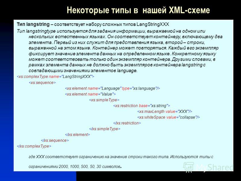 Некоторые типы в нашей XML-схеме Тип langstring – соответствует набору сложных типов LangStringXXX Тип langstringtype используется для задания информации, выражаемой на одном или нескольких естественных языках. Он соответствует контейнеру, включающем