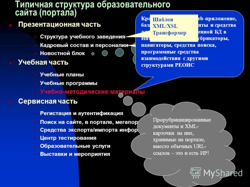 XML-файлы провайдеров новостей и XSL- стили. Трансформер Типичная структура образовательного сайта (портала) Презентационная часть Структура учебного заведения Кадровый состав и персоналии Новостной блок Учебная часть Учебные планы Учебные программы