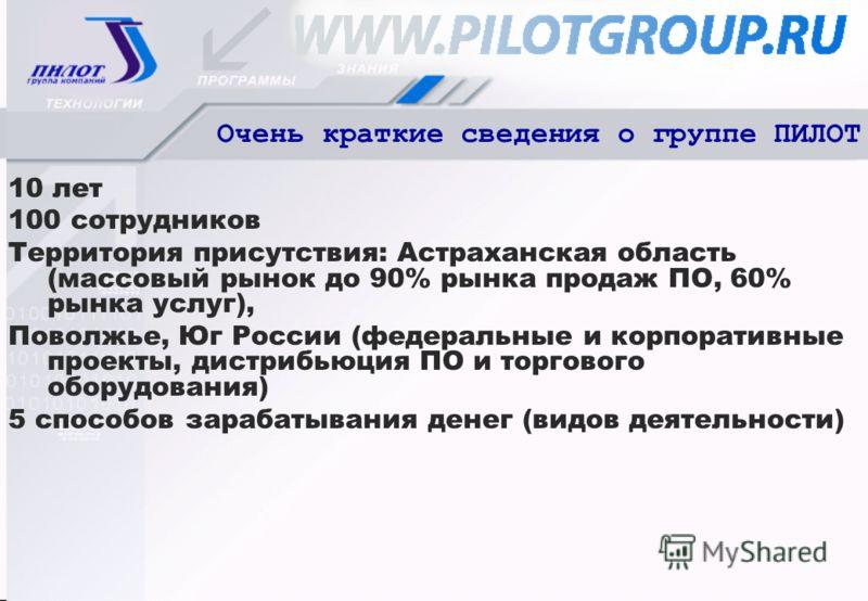 Очень краткие сведения о группе ПИЛОТ 10 лет 100 сотрудников Территория присутствия: Астраханская область (массовый рынок до 90% рынка продаж ПО, 60% рынка услуг), Поволжье, Юг России (федеральные и корпоративные проекты, дистрибьюция ПО и торгового