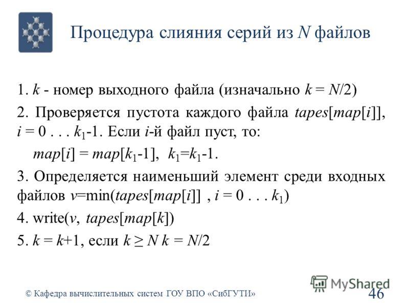Процедура слияния серий из N файлов 46 © Кафедра вычислительных систем ГОУ ВПО «СибГУТИ» 1. k - номер выходного файла (изначально k = N/2) 2. Проверяется пустота каждого файла tapes[map[i]], i = 0... k 1 -1. Если i-й файл пуст, тo: map[i] = map[k 1 -
