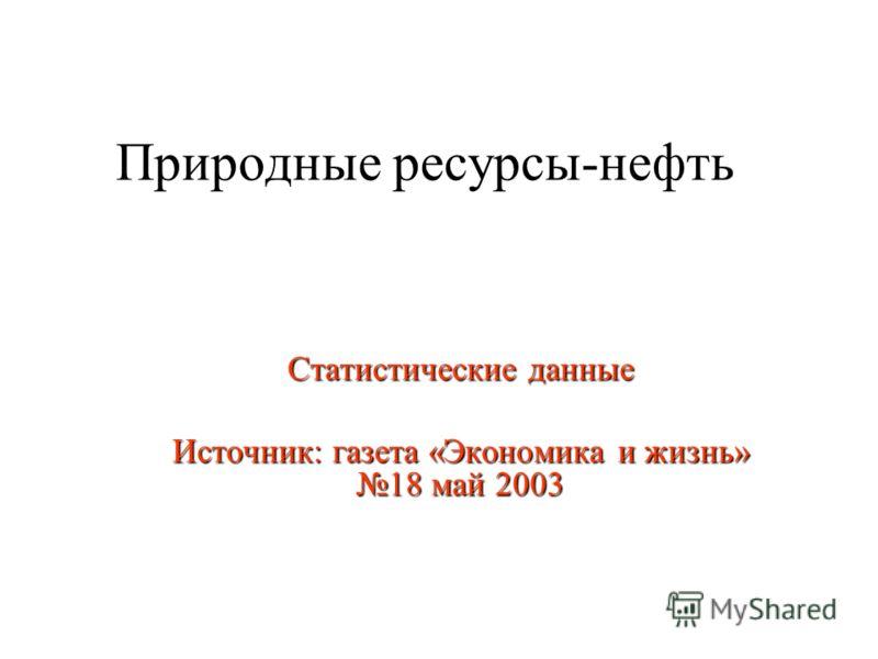 Природные ресурсы-нефть Статистические данные Источник: газета «Экономика и жизнь» 18 май 2003