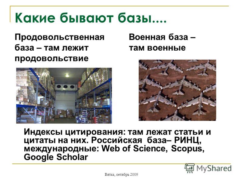 Вятка, оетябрь 2009 Какие бывают базы.... Продовольственная Военная база – база – там лежит там военные продовольствие Индексы цитирования: там лежат статьи и цитаты на них. Российская база– РИНЦ, международные: Web of Science, Scopus, Google Scholar
