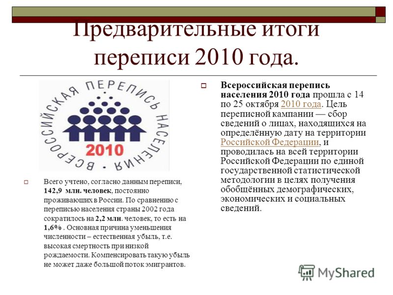 Предварительные итоги переписи 2010 года. Всего учтено, согласно данным переписи, 142,9 млн. человек, постоянно проживающих в России. По сравнению с переписью населения страны 2002 года сократилось на 2,2 млн. человек, то есть на 1,6%. Основная причи