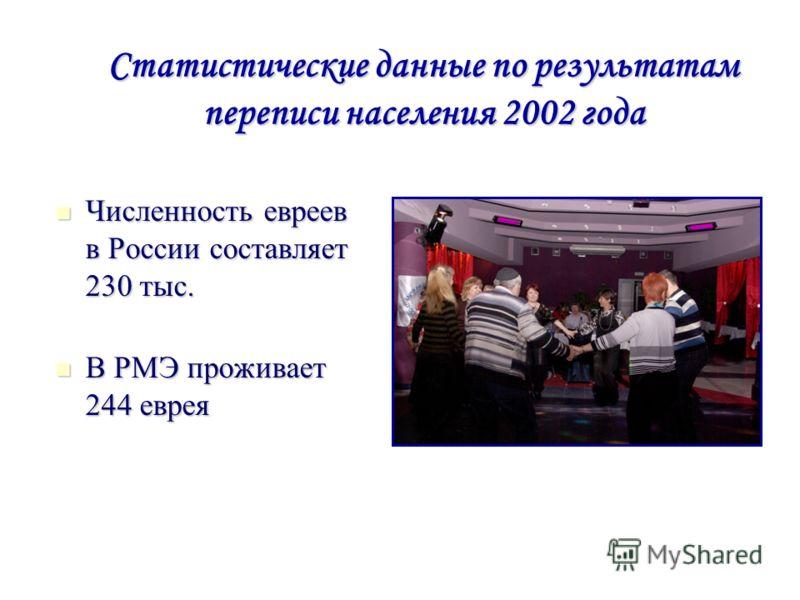 Статистические данные по результатам переписи населения 2002 года Численность евреев в России составляет 230 тыс. Численность евреев в России составляет 230 тыс. В РМЭ проживает 244 еврея В РМЭ проживает 244 еврея