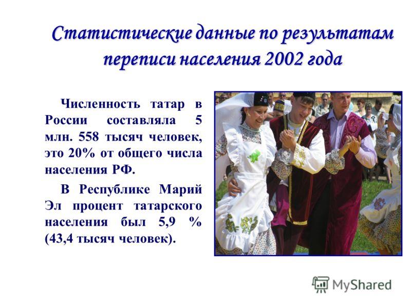 Статистические данные по результатам переписи населения 2002 года Численность татар в России составляла 5 млн. 558 тысяч человек, это 20% от общего числа населения РФ. В Республике Марий Эл процент татарского населения был 5,9 % (43,4 тысяч человек).