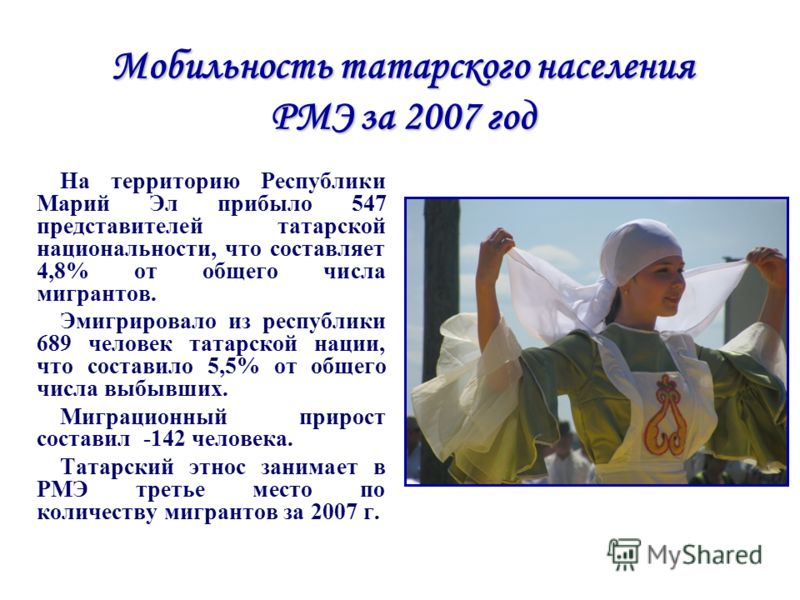 Мобильность татарского населения РМЭ за 2007 год На территорию Республики Марий Эл прибыло 547 представителей татарской национальности, что составляет 4,8% от общего числа мигрантов. Эмигрировало из республики 689 человек татарской нации, что состави