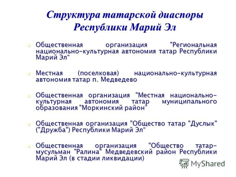 Структура татарской диаспоры Республики Марий Эл Общественная организация
