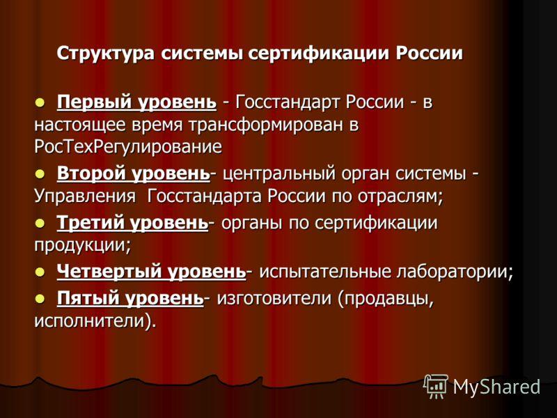 Структура системы сертификации России Первый уровень - Госстандарт России - в настоящее время трансформирован в РосТехРегулирование Первый уровень - Госстандарт России - в настоящее время трансформирован в РосТехРегулирование Второй уровень- централь