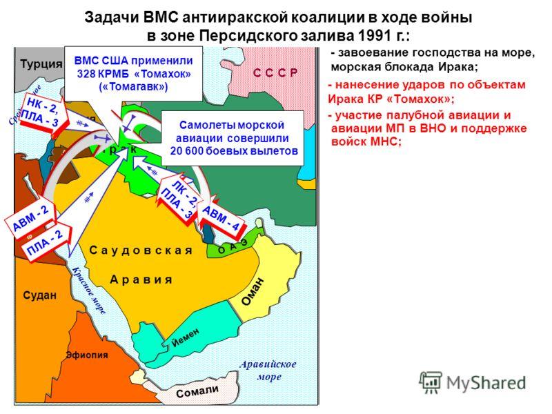 Задачи ВМС антииракской коалиции в ходе войны в зоне Персидского залива 1991 г.: И р а к С а у д о в с к а я А р а в и я И р а н О А Э Оман Сирия Турция С С С Р Иордания Персидский зал. Средиземное море Красное море Судан Эфиопия Йемен Египет Сомали