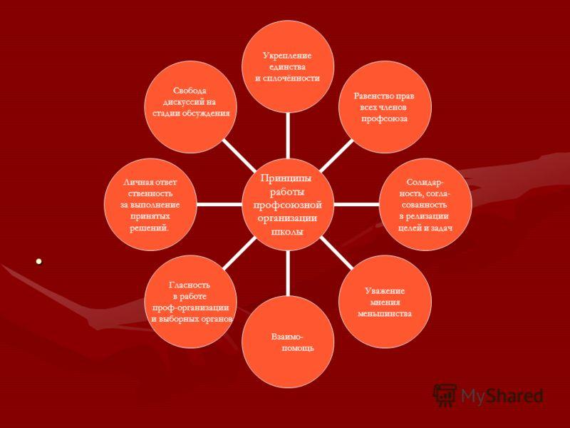 Принципы работы профсоюзной организации школы Укрепление единства и сплочённости Равенство прав всех членов профсоюза Солидар- ность, согла- сованность в релизации целей и задач Уважение мнения меньшинства Взаимо- помощь Гласность в работе проф- орга