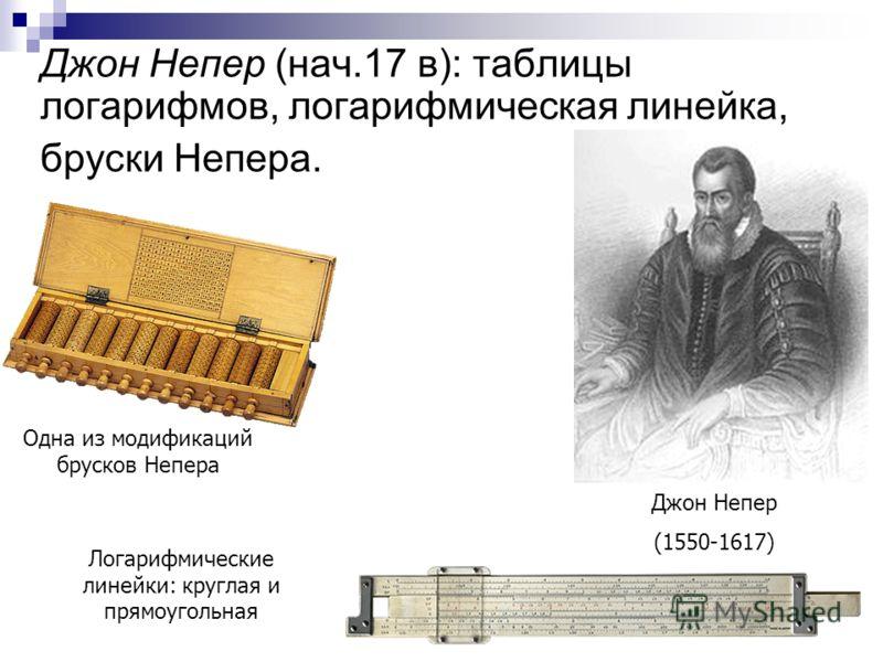 Джон Непер (нач.17 в): таблицы логарифмов, логарифмическая линейка, бруски Непера. Джон Непер (1550-1617) Одна из модификаций брусков Непера Логарифмические линейки: круглая и прямоугольная