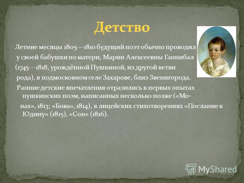 Летние месяцы 18051810 будущий поэт обычно проводил у своей бабушки по матери, Марии Алексеевны Ганнибал (17451818, урождённой Пушкиной, из другой ветви рода), в подмосковном селе Захарове, близ Звенигорода. Ранние детские впечатления отразились в пе
