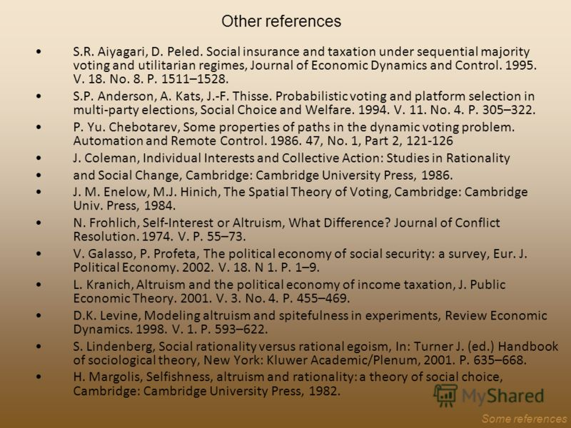 S.R. Aiyagari, D. Peled. Social insurance and taxation under sequential majority voting and utilitarian regimes, Journal of Economic Dynamics and Control. 1995. V. 18. No. 8. P. 1511–1528. S.P. Anderson, A. Kats, J.-F. Thisse. Probabilistic voting an