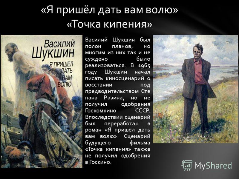 Василий Шукшин был полон планов, но многим из них так и не суждено было реализоваться. В 1965 году Шукшин начал писать киносценарий о восстании под предводительством Сте пана Разина, но не получил одобрения Госкомкино СССР. Впоследствии сценарий был