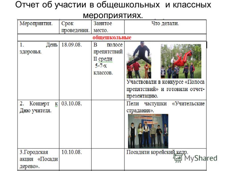 Отчет об участии в общешкольных и классных мероприятиях.