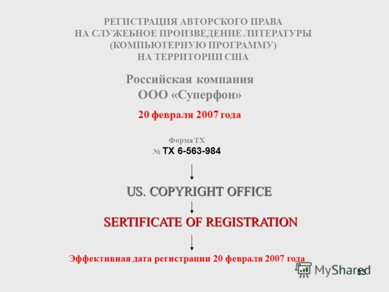 33 20 февраля 2007 года РЕГИСТРАЦИЯ АВТОРСКОГО ПРАВА НА СЛУЖЕБНОЕ ПРОИЗВЕДЕНИЕ ЛИТЕРАТУРЫ (КОМПЬЮТЕРНУЮ ПРОГРАММУ) НА ТЕРРИТОРИИ США Форма TX TX 6-563-984 Российская компания ООО «Суперфон» US. COPYRIGHT OFFICE SERTIFICATE OF REGISTRATION Эффективная