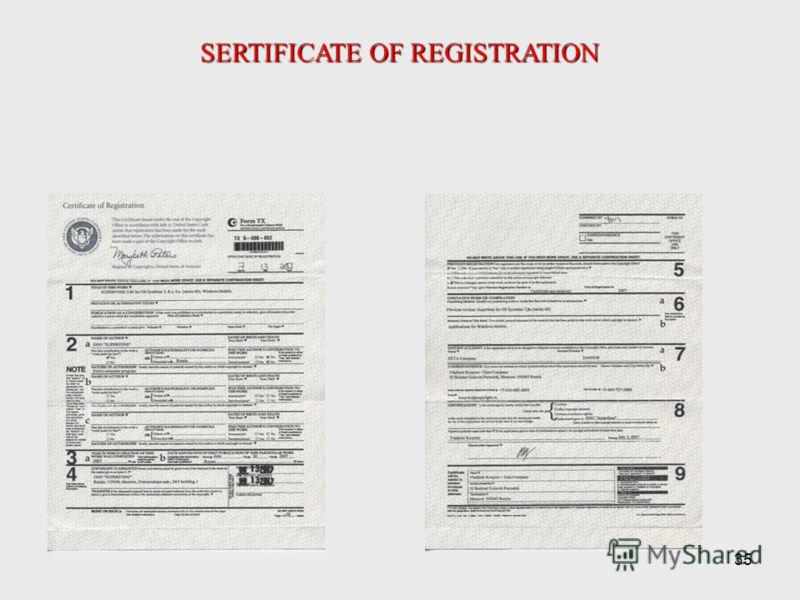 35 SERTIFICATE OF REGISTRATION