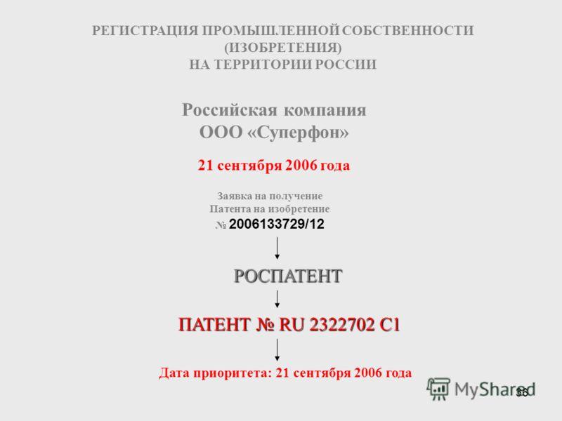 36 21 сентября 2006 года РЕГИСТРАЦИЯ ПРОМЫШЛЕННОЙ СОБСТВЕННОСТИ (ИЗОБРЕТЕНИЯ) НА ТЕРРИТОРИИ РОССИИ Заявка на получение Патента на изобретение 2006133729/12 Российская компания ООО «Суперфон» РОСПАТЕНТ ПАТЕНТ RU 2322702 С1 Дата приоритета: 21 сентября