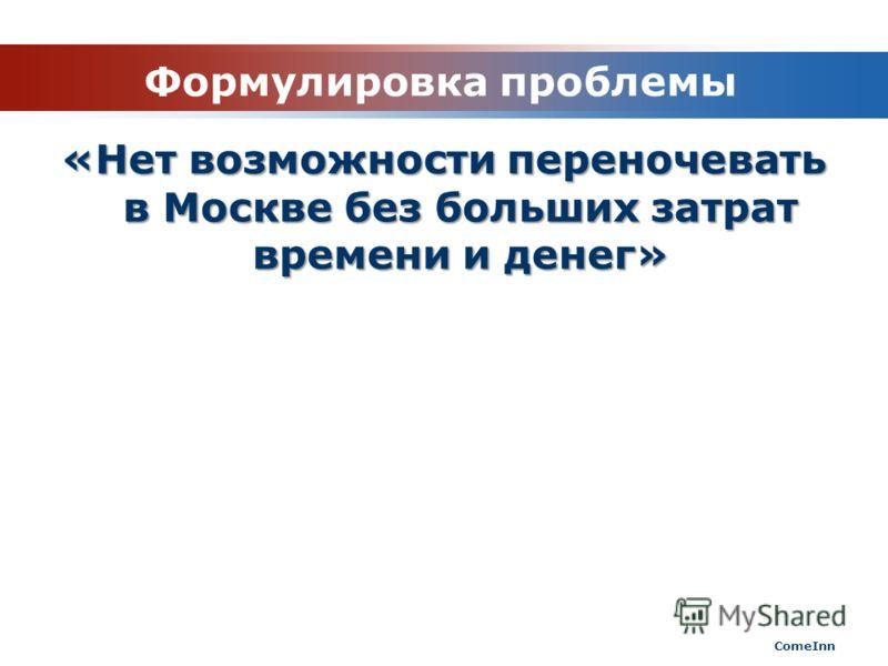Формулировка проблемы «Нет возможности переночевать в Москве без больших затрат времени и денег» ComeInn