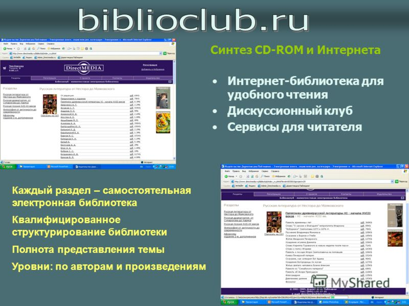 Интернет-библиотека для удобного чтения Дискуссионный клуб Сервисы для читателя Синтез CD-ROM и Интернета Каждый раздел – самостоятельная электронная библиотека Квалифицированное структурирование библиотеки Полнота представления темы Уровни: по автор