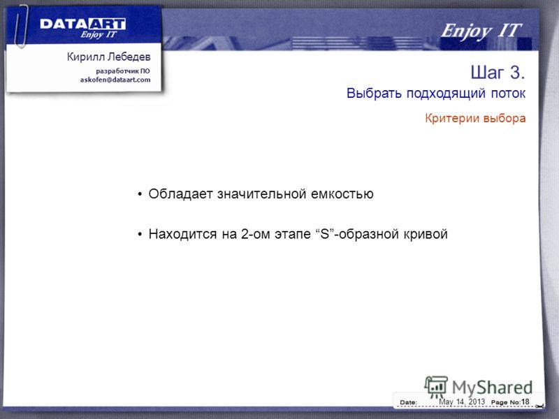 Кирилл Лебедев разработчик ПО askofen@dataart.com May 14, 201318 Шаг 3. Обладает значительной емкостью Находится на 2-ом этапе S-образной кривой Выбрать подходящий поток Критерии выбора