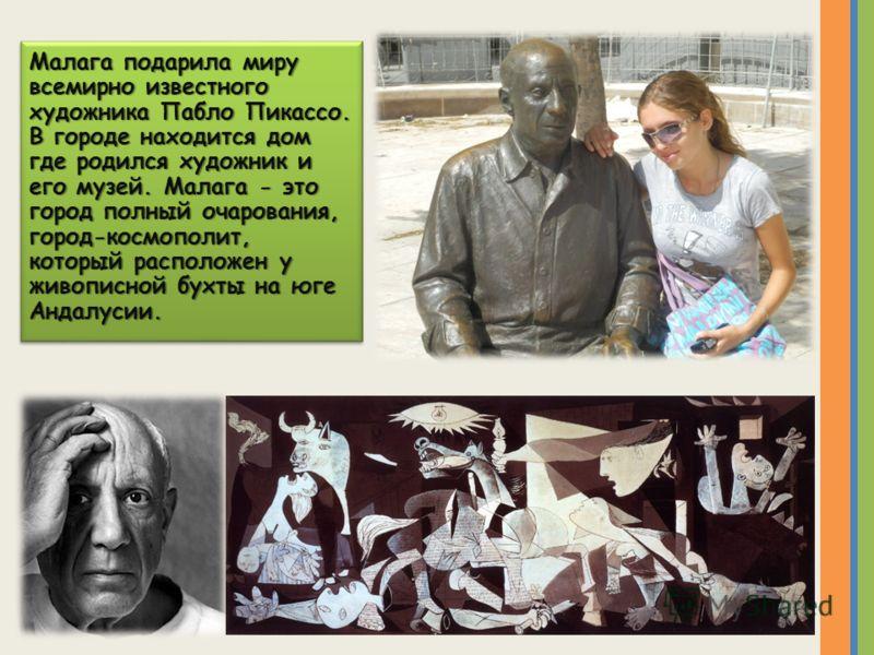 Малага подарила миру всемирно известного художника Пабло Пикассо. В городе находится дом где родился художник и его музей. Малага - это город полный очарования, город-космополит, который расположен у живописной бухты на юге Андалусии.
