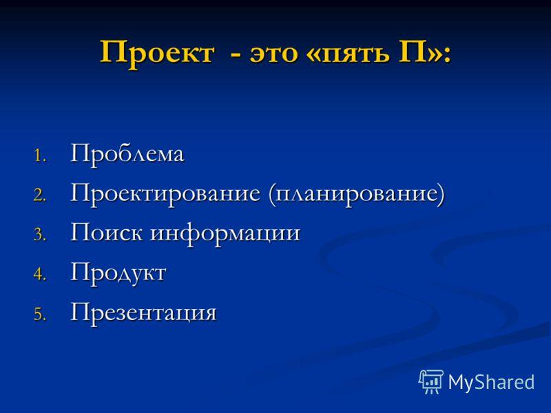 Проект - это «пять П»: 1. Проблема 2. Проектирование (планирование) 3. Поиск информации 4. Продукт 5. Презентация