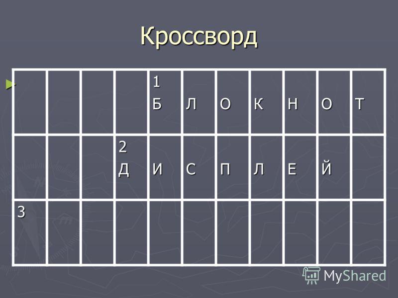 Кроссворд 1БЛОКНОТ 2ДИСПЛЕЙ 3