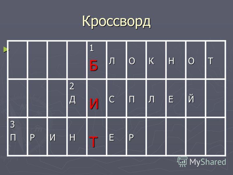 Кроссворд 1БЛОКНОТ 2ДИСПЛЕЙ 3ПРИНТЕР
