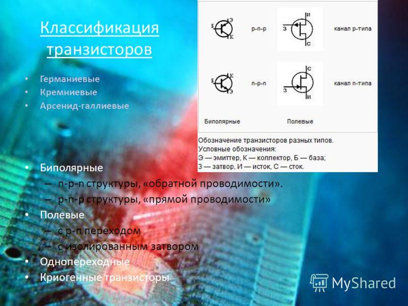 Классификация транзисторов Германиевые Кремниевые Арсенид-галлиевые Биполярные – n-p-n структуры, «обратной проводимости». – p-n-p структуры, «прямой проводимости» Полевые – с p-n переходом – с изолированным затвором Однопереходные Криогенные транзис