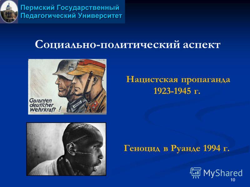 10 Социально-политический аспект Геноцид в Руанде 1994 г. Нацистская пропаганда 1923-1945 г.