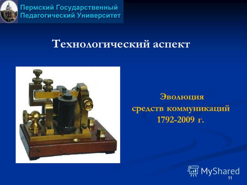11 Технологический аспект Эволюция средств коммуникаций 1792-2009 г.