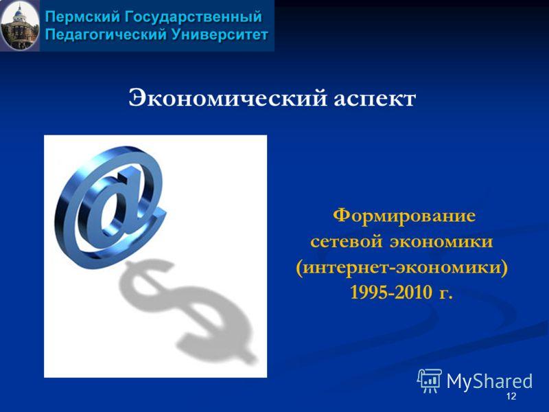 12 Экономический аспект Формирование сетевой экономики (интернет-экономики) 1995-2010 г.