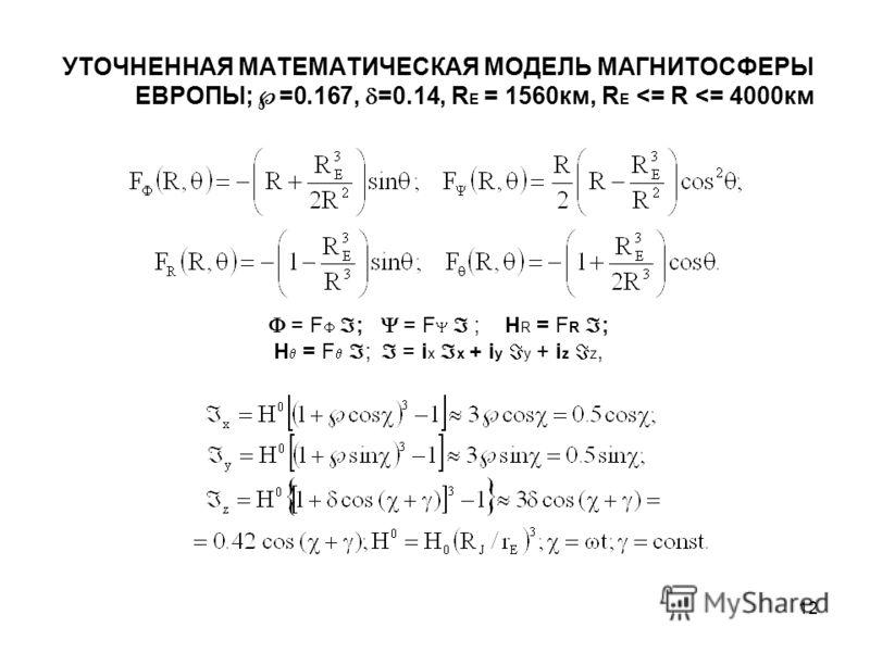 12 УТОЧНЕННАЯ МАТЕМАТИЧЕСКАЯ МОДЕЛЬ МАГНИТОСФЕРЫ ЕВРОПЫ; =0.167, =0.14, R E = 1560км, R E