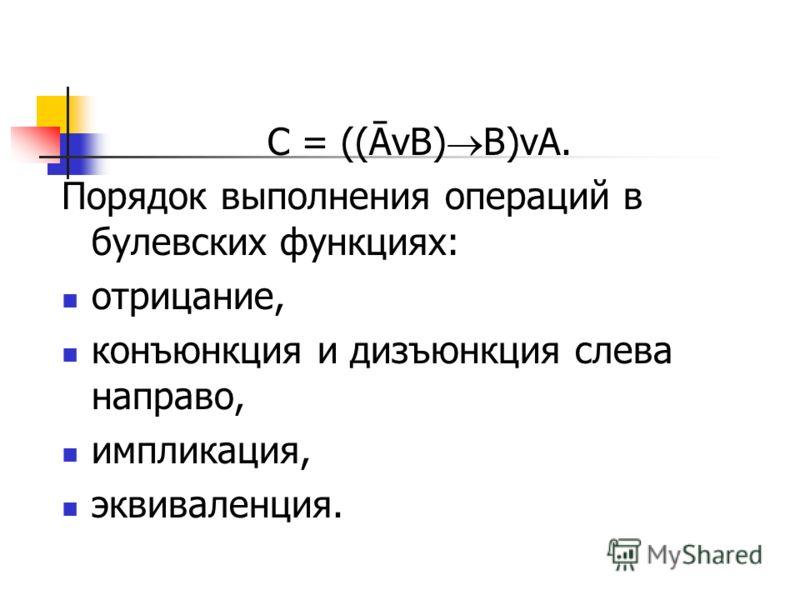 С = ((ĀvB) B)vA. Порядок выполнения операций в булевских функциях: отрицание, конъюнкция и дизъюнкция слева направо, импликация, эквиваленция.