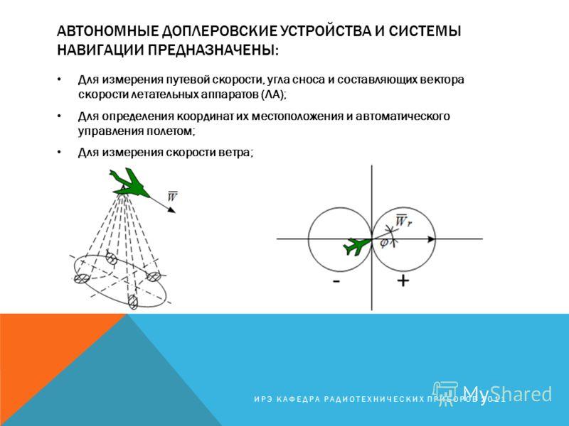 АВТОНОМНЫЕ ДОПЛЕРОВСКИЕ УСТРОЙСТВА И СИСТЕМЫ НАВИГАЦИИ ПРЕДНАЗНАЧЕНЫ: Для измерения путевой скорости, угла сноса и составляющих вектора скорости летательных аппаратов (ЛА); Для определения координат их местоположения и автоматического управления поле