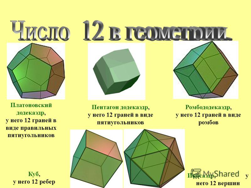Платоновский додекаэдр, у него 12 граней в виде правильных пятиугольников Ромбододекаэдр, у него 12 граней в виде ромбов Пентагон додекаэдр, у него 12 граней в виде пятиугольников Куб, у него 12 ребер Икосаэдр, у него 12 вершин