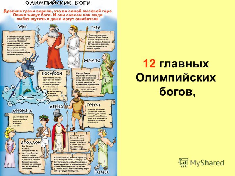12 главных Олимпийских богов,